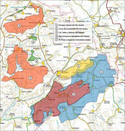 MAPA de los espacios naturales en los alrededores de Sigüenza